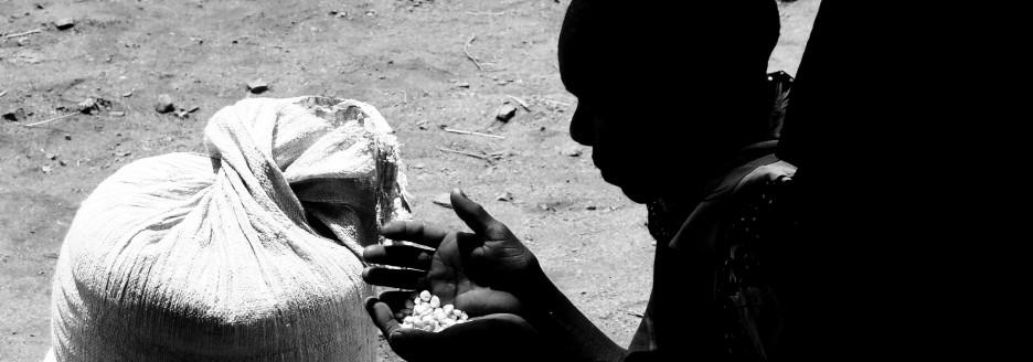 En kvinde ved majsuddelingen fornemmer majsens værdi